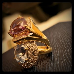 Two 14k solid gold amethyst & Tanzanite rings
